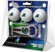 Tulane Green Wave Golf Ball Gift Pack with Hat Trick Divot Tool
