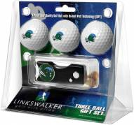 Tulane Green Wave Golf Ball Gift Pack with Spring Action Divot Tool