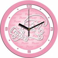 Tulane Green Wave Pink Wall Clock
