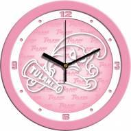 Tulane Green Wave Pink Wall Clock