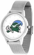 Tulane Green Wave Silver Mesh Statement Watch