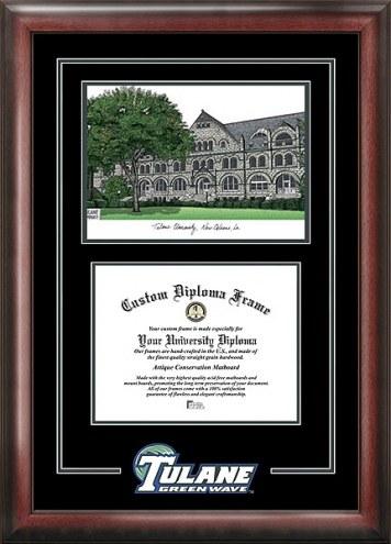 Tulane Green Wave Spirit Diploma Frame with Campus Image