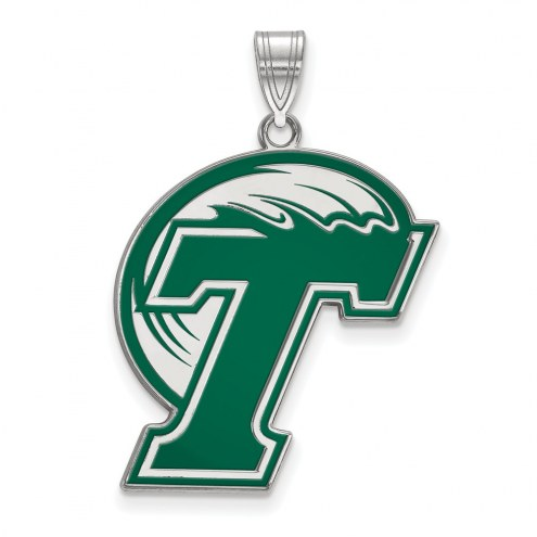 Tulane Green Wave Sterling Silver Extra Large Enameled Pendant