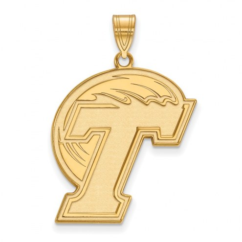 Tulane Green Wave Sterling Silver Gold Plated Extra Large Pendant