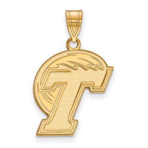 Tulane Green Wave Sterling Silver Gold Plated Large Pendant