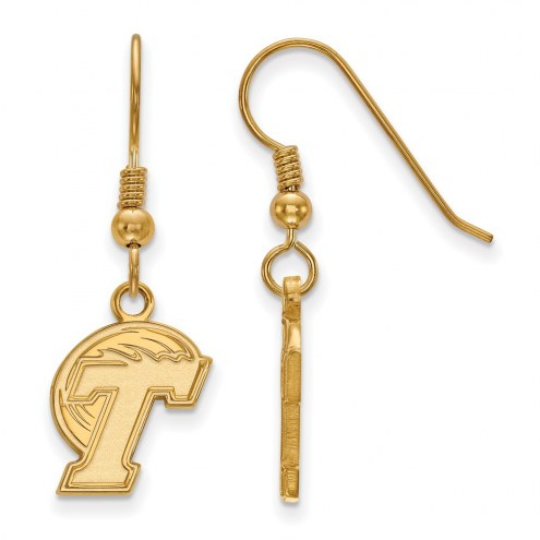 Tulane Green Wave Sterling Silver Gold Plated Small Dangle Earrings