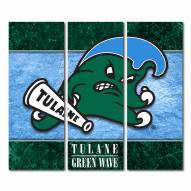 Tulane Green Wave Triptych Double Border Canvas Wall Art