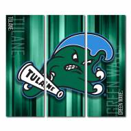 Tulane Green Wave Triptych Rush Canvas Wall Art