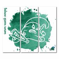 Tulane Green Wave Triptych Watercolor Canvas Wall Art