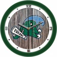 Tulane Green Wave Weathered Wood Wall Clock