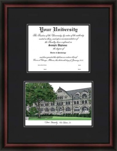 Tulane University Diplomate Framed Lithograph with Diploma Opening