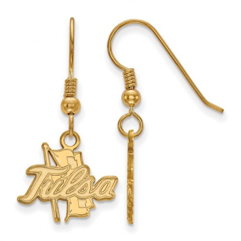 Tulsa Golden Hurricane Sterling Silver Gold Plated Small Dangle Earrings