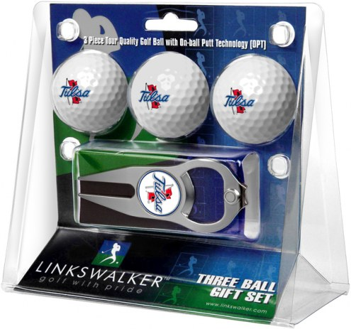 Tulsa Golden Hurricane Golf Ball Gift Pack with Hat Trick Divot Tool