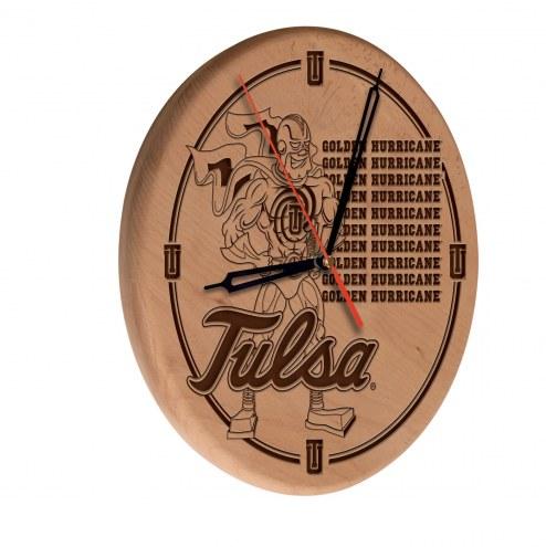 Tulsa Golden Hurricane Laser Engraved Wood Clock