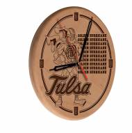 Tulsa Golden Hurricane Laser Engraved Wood Clock