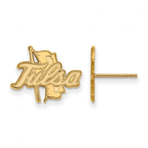 Tulsa Golden Hurricane Sterling Silver Gold Plated Small Post Earrings