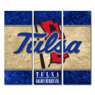 Tulsa Golden Hurricane Triptych Double Border Canvas Wall Art