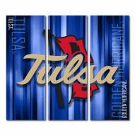 Tulsa Golden Hurricane Triptych Rush Canvas Wall Art