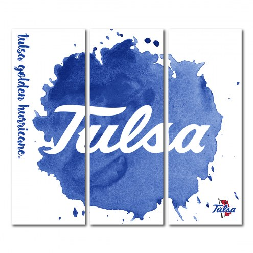 Tulsa Golden Hurricane Triptych Watercolor Canvas Wall Art
