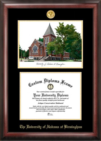 UAB Blazers Gold Embossed Diploma Frame with Lithograph
