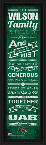 UAB Blazers Personalized Family Cheer Framed Art