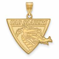UAB Blazers Sterling Silver Gold Plated Large Pendant