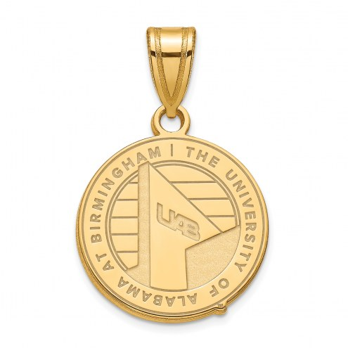 UAB Blazers Sterling Silver Gold Plated Medium Pendant