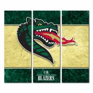 UAB Blazers Triptych Double Border Canvas Wall Art