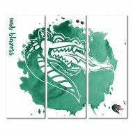 UAB Blazers Triptych Watercolor Canvas Wall Art