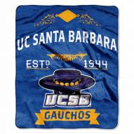 UC Santa Barbara Gauchos Label Raschel Throw Blanket
