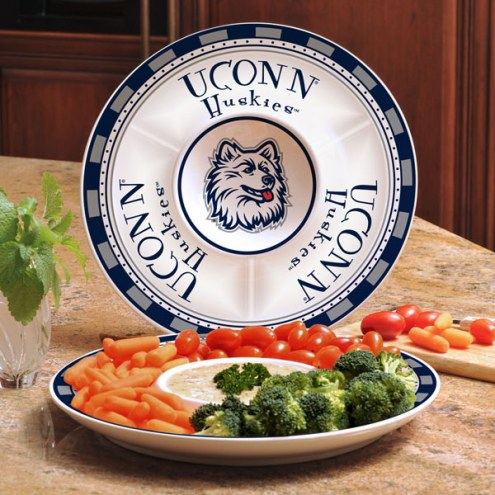 Connecticut Huskies Ceramic Chip and Dip Serving Dish
