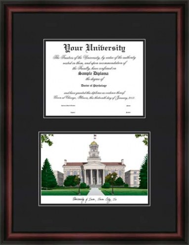 University of Iowa Diplomate Framed Lithograph with Diploma Opening