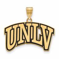 UNLV Rebels Sterling Silver Gold Plated Large Enameled Pendant