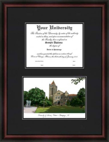 University of Illinois Urbana-Champaign Diplomate Framed Lithograph with Diploma Opening