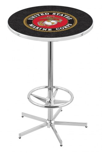 U.S. Marine Corps Chrome Bar Table with Foot Ring