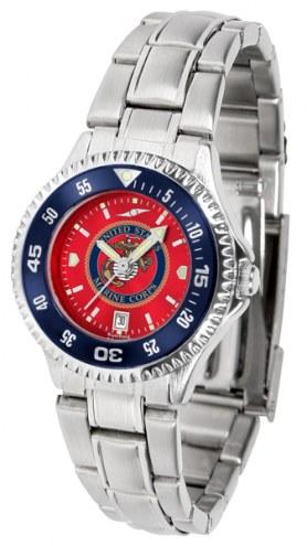 U.S. Marine Corps Competitor Steel AnoChrome Women's Watch - Color Bezel