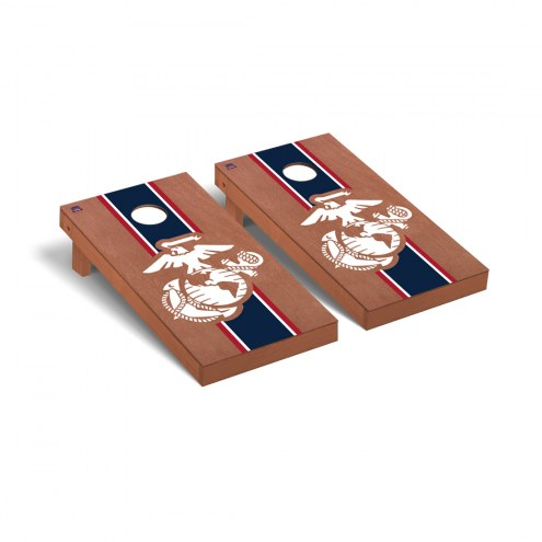 U.S. Marine Corps Rosewood Stained Stripe Cornhole Game Set