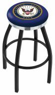 U.S. Navy Midshipmen Black Swivel Barstool with Chrome Accent Ring