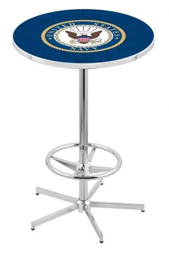 U.S. Navy Midshipmen Chrome Bar Table with Foot Ring