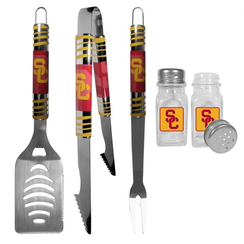 USC Trojans 3 Piece Tailgater BBQ Set and Salt and Pepper Shakers