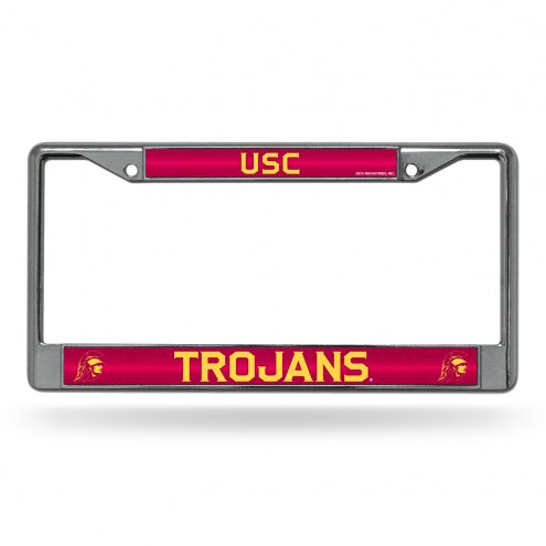 USC Trojans Chrome Glitter License Plate Frame