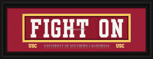 "USC Trojans ""Fight On"" Stitched Jersey Framed Print"