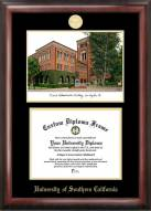 USC Trojans Gold Embossed Diploma Frame with Campus Images Lithograph