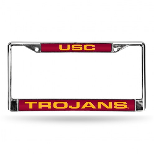 USC Trojans Laser Chrome License Plate Frame
