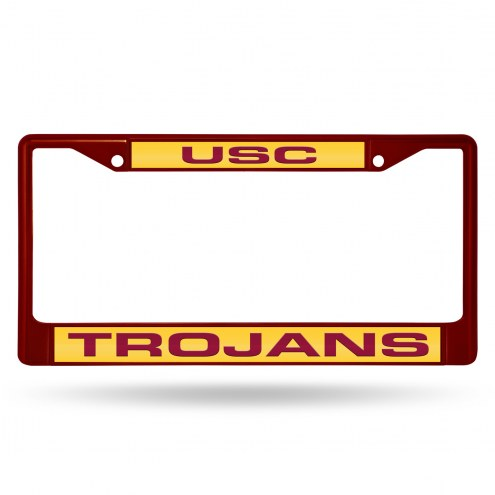 USC Trojans Laser Colored Chrome License Plate Frame