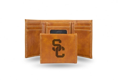 USC Trojans Laser Engraved Brown Trifold Wallet