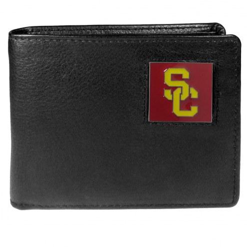 USC Trojans Leather Bi-fold Wallet in Gift Box