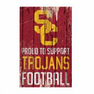 USC Trojans Proud to Support Wood Sign