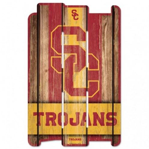USC Trojans Wood Fence Sign