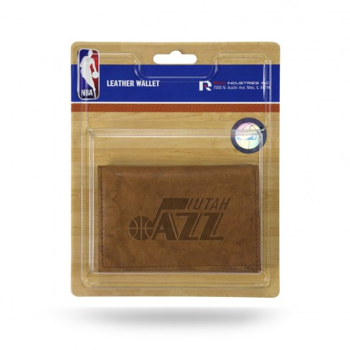 Utah Jazz Brown Leather Trifold Wallet